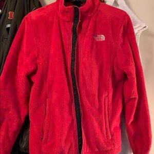 Pink/red north face fuzzy jacket